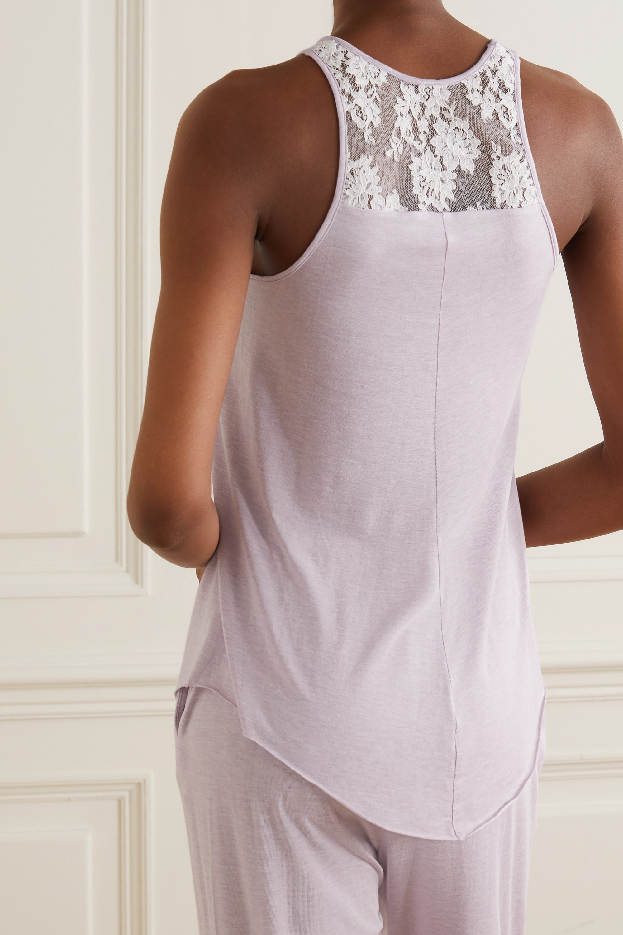 I.D. SARRIERI Coffee Mornings lace-trimmed modal-blend pajama top