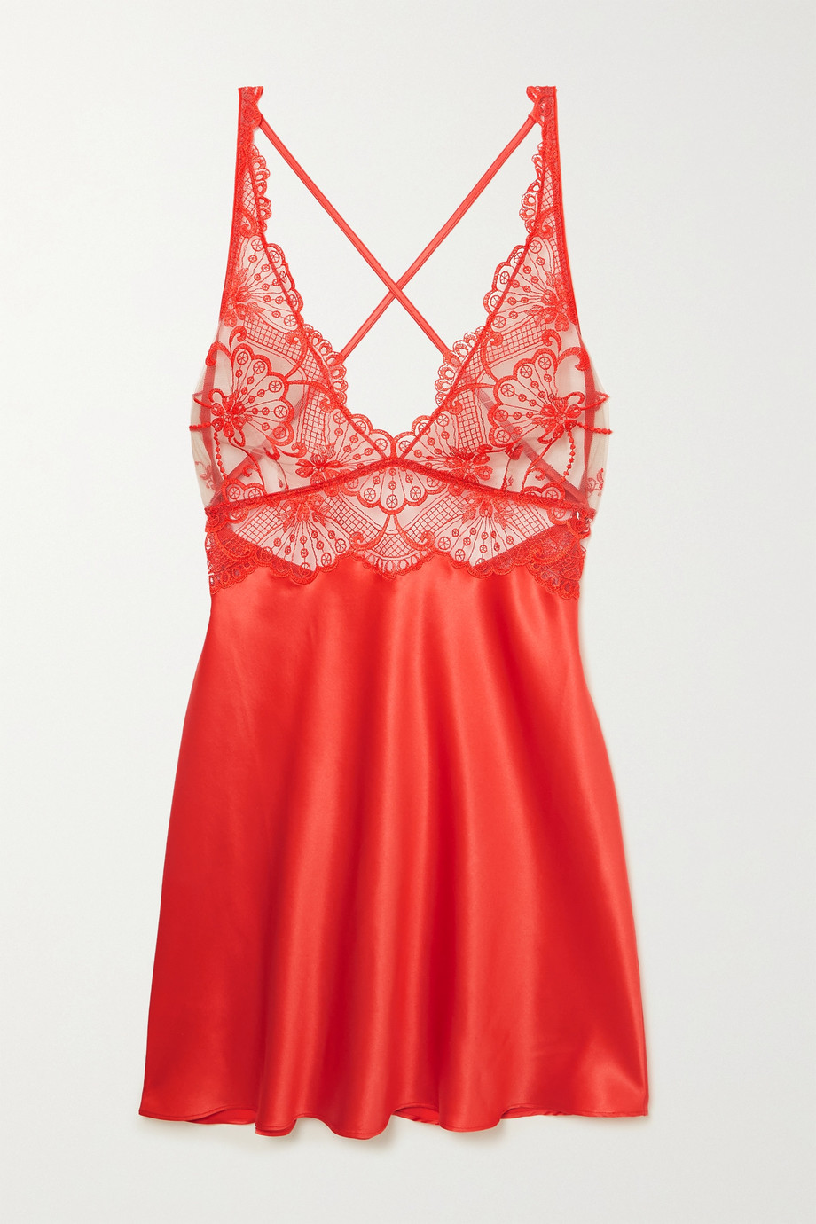 I.D. SARRIERI Euphoria embroidered tulle and silk-blend satin chemise