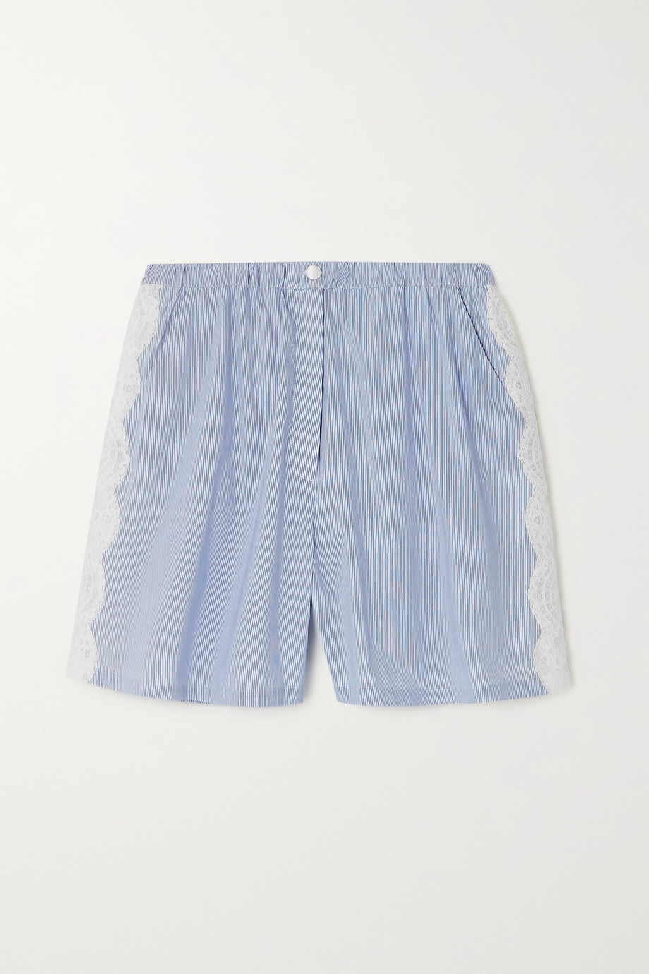 I.D. SARRIERI He's Mine lace-paneled striped cotton-blend pajama shorts