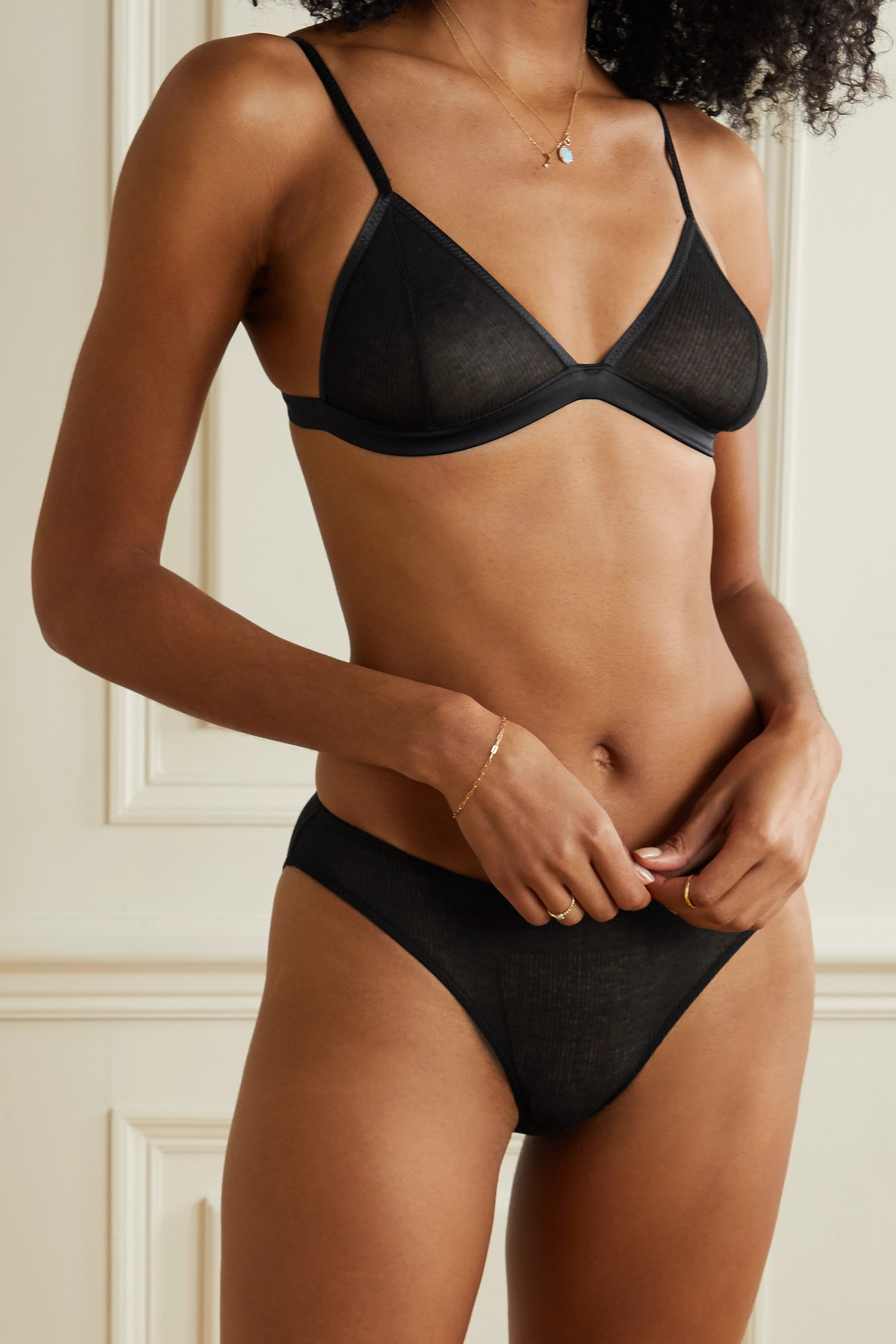 ANINE BING Alexia satin-trimmed ribbed-knit soft-cup triangle bra