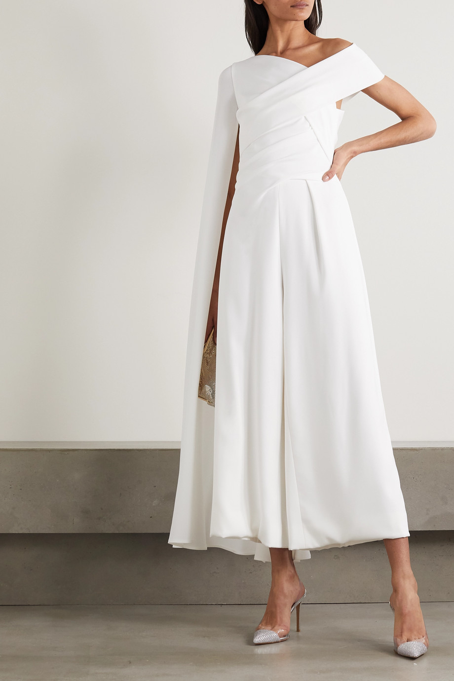 TALBOT RUNHOF Sina cape-effect gathered crepe jumpsuit