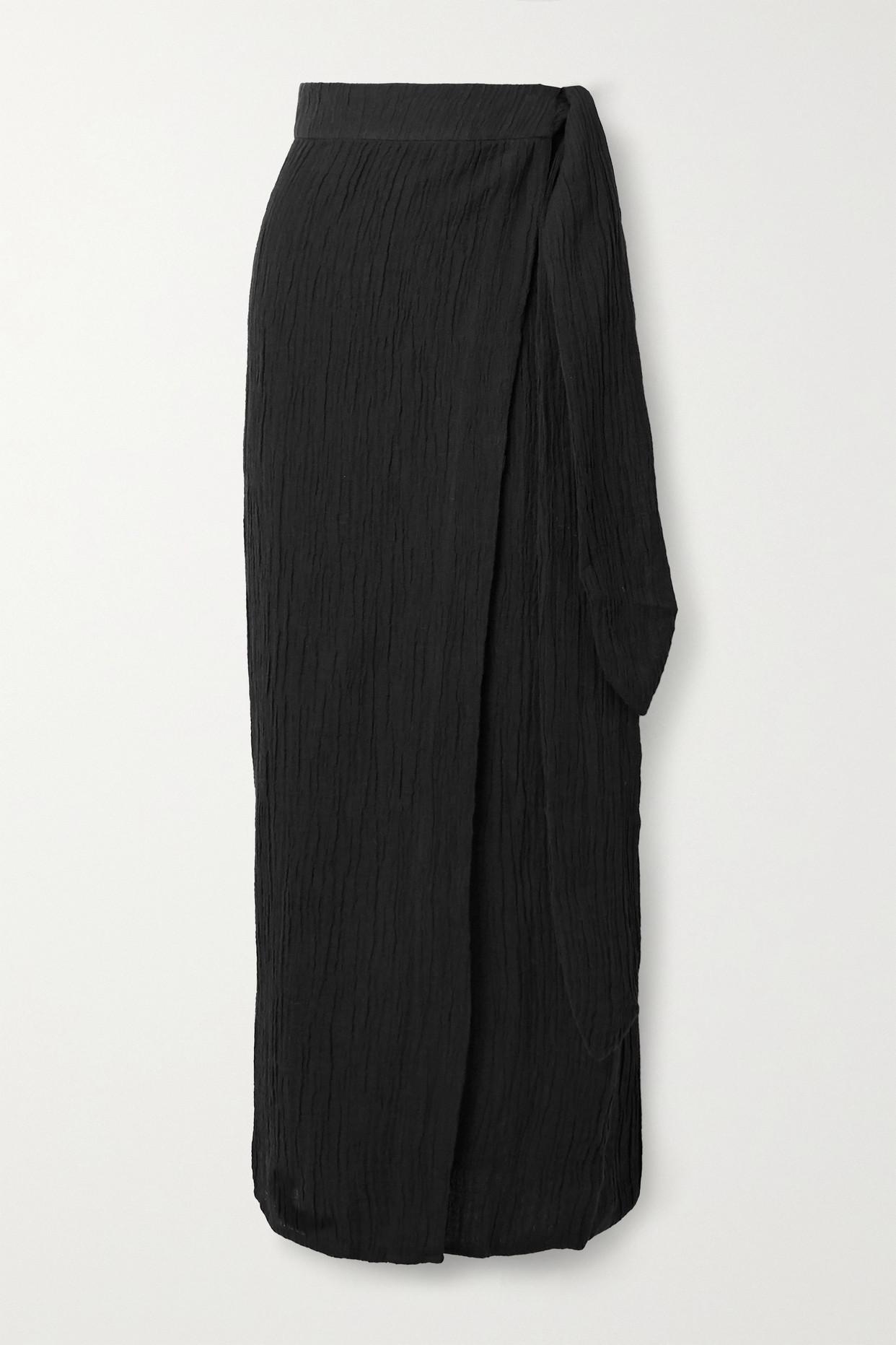 MARA HOFFMAN - + Net Sustain Thiago Crinkled Organic Linen And Cotton-blend Wrap Skirt - Black - x s