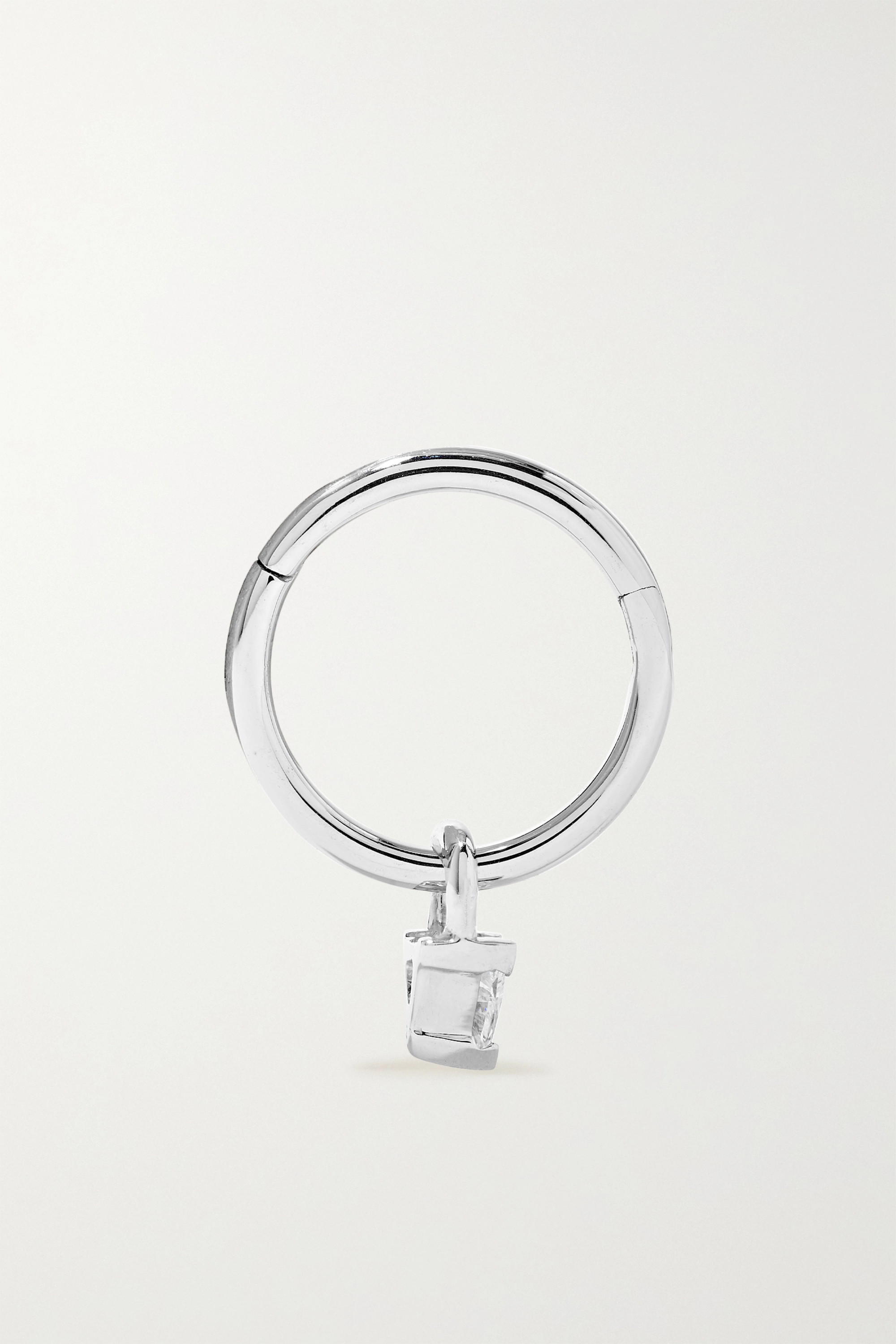 MARIA TASH 18-karat white gold diamond hoop earring