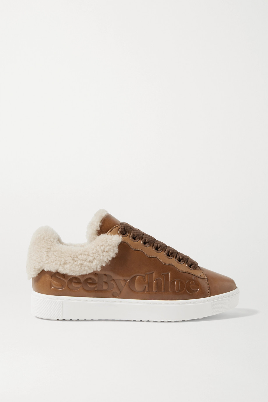 SEE BY CHLOÉ Shearling-trimmed logo-debossed leather sneakers