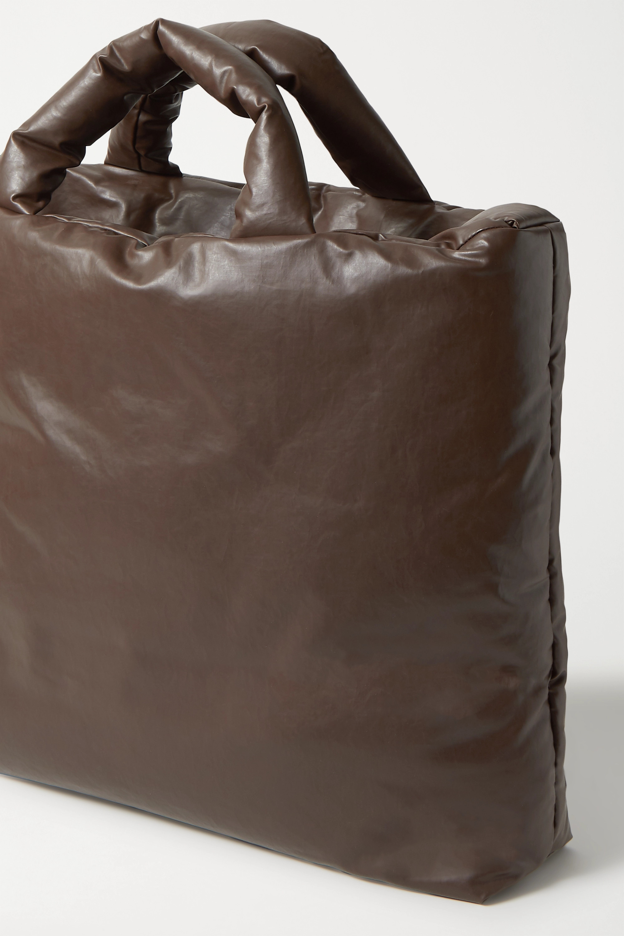 KASSL EDITIONS Large padded coated cotton-blend tote