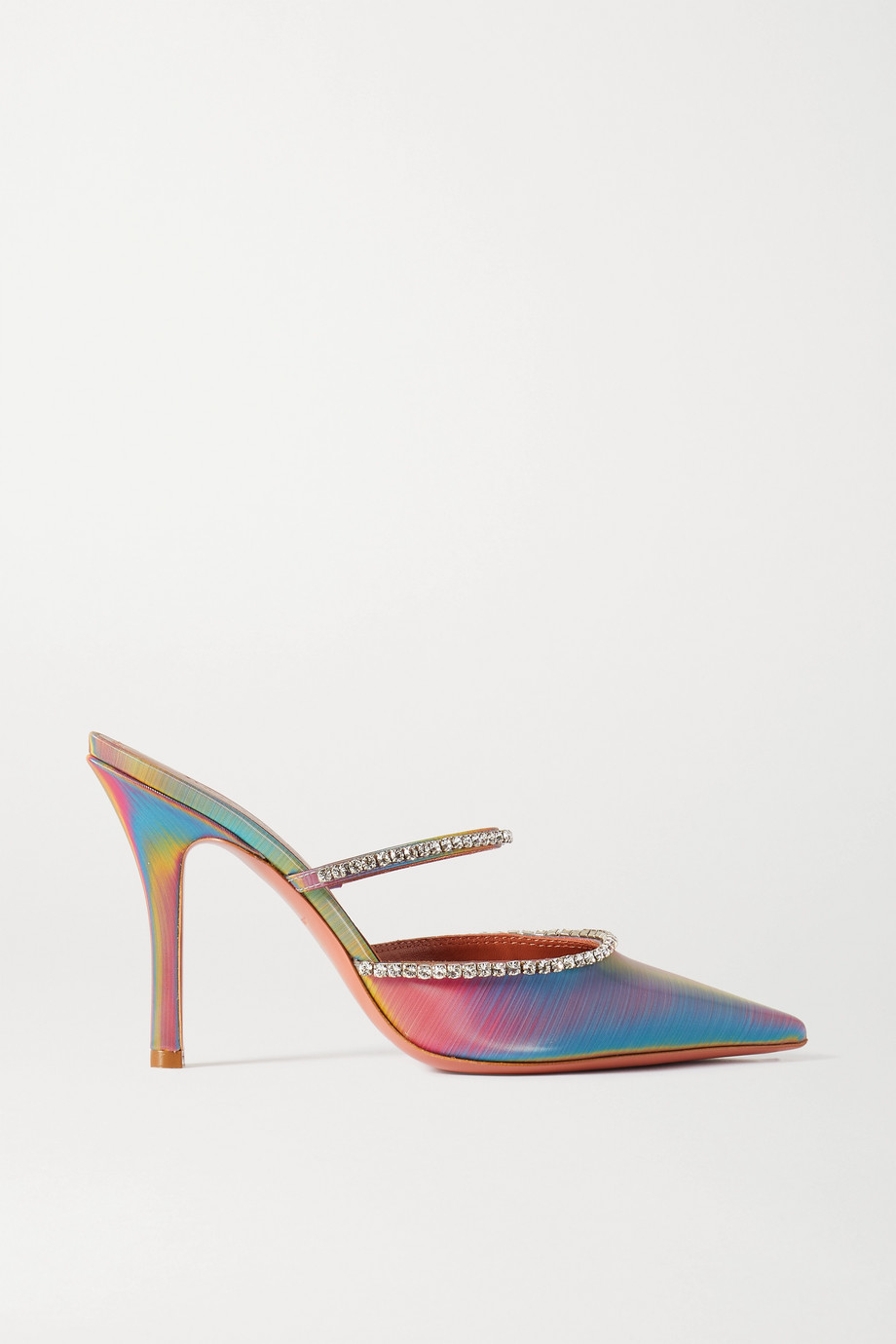 AMINA MUADDI Gilda crystal-embellished iridescent leather mules