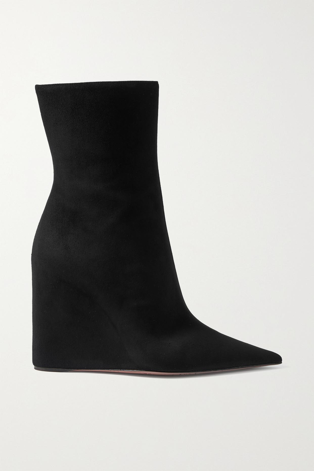 AMINA MUADDI - Pernille 绒面革坡跟踝靴 - 黑色 - IT41