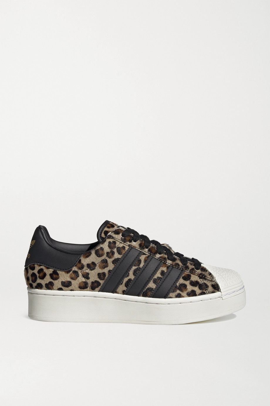 ADIDAS ORIGINALS + atmos Superstar Bold leather-trimmed leopard-print calf hair platform sneakers