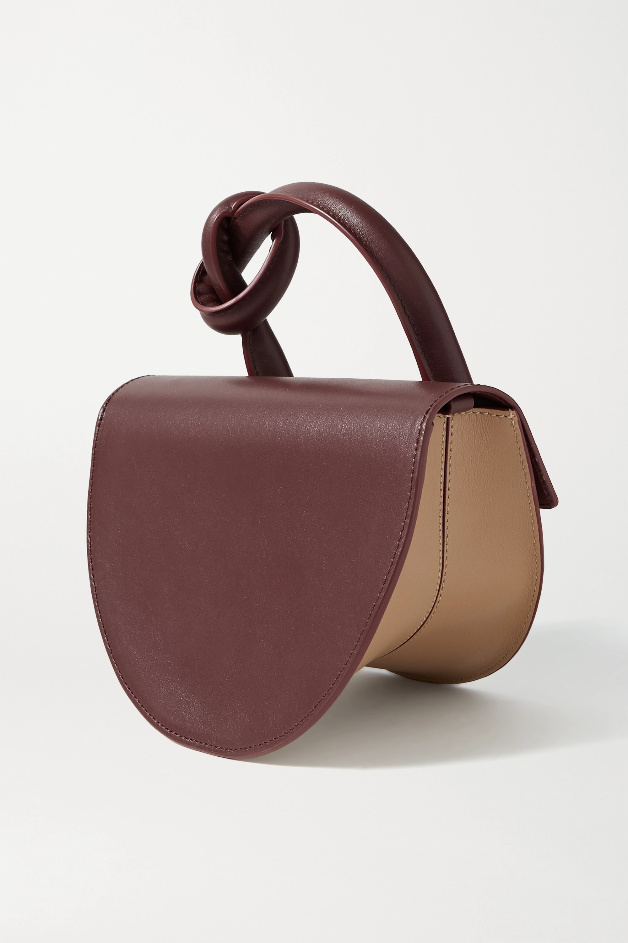 YUZEFI Dolores knotted color-block leather shoulder bag