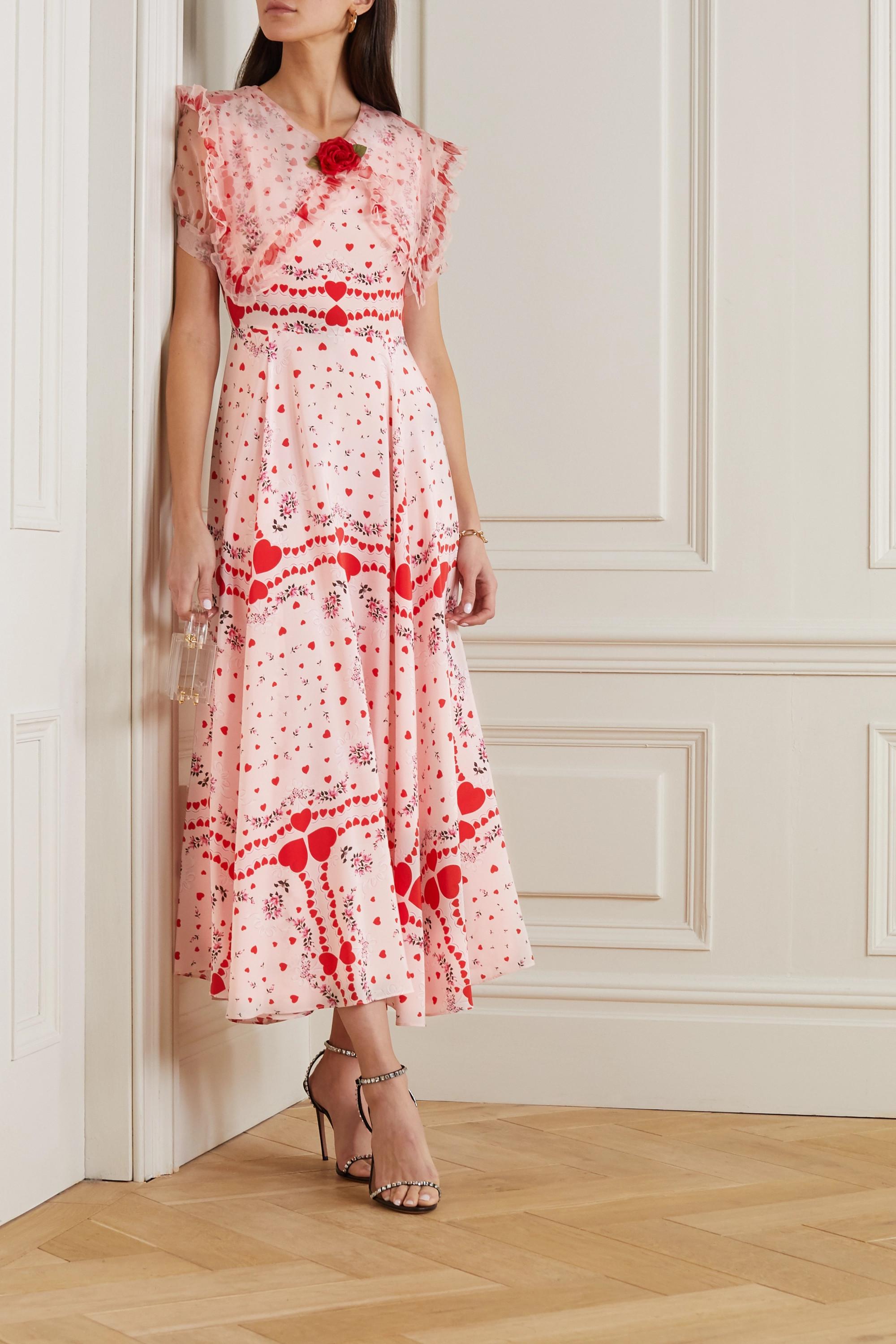 RODARTE Ruffled organza-trimmed printed silk crepe de chine dress
