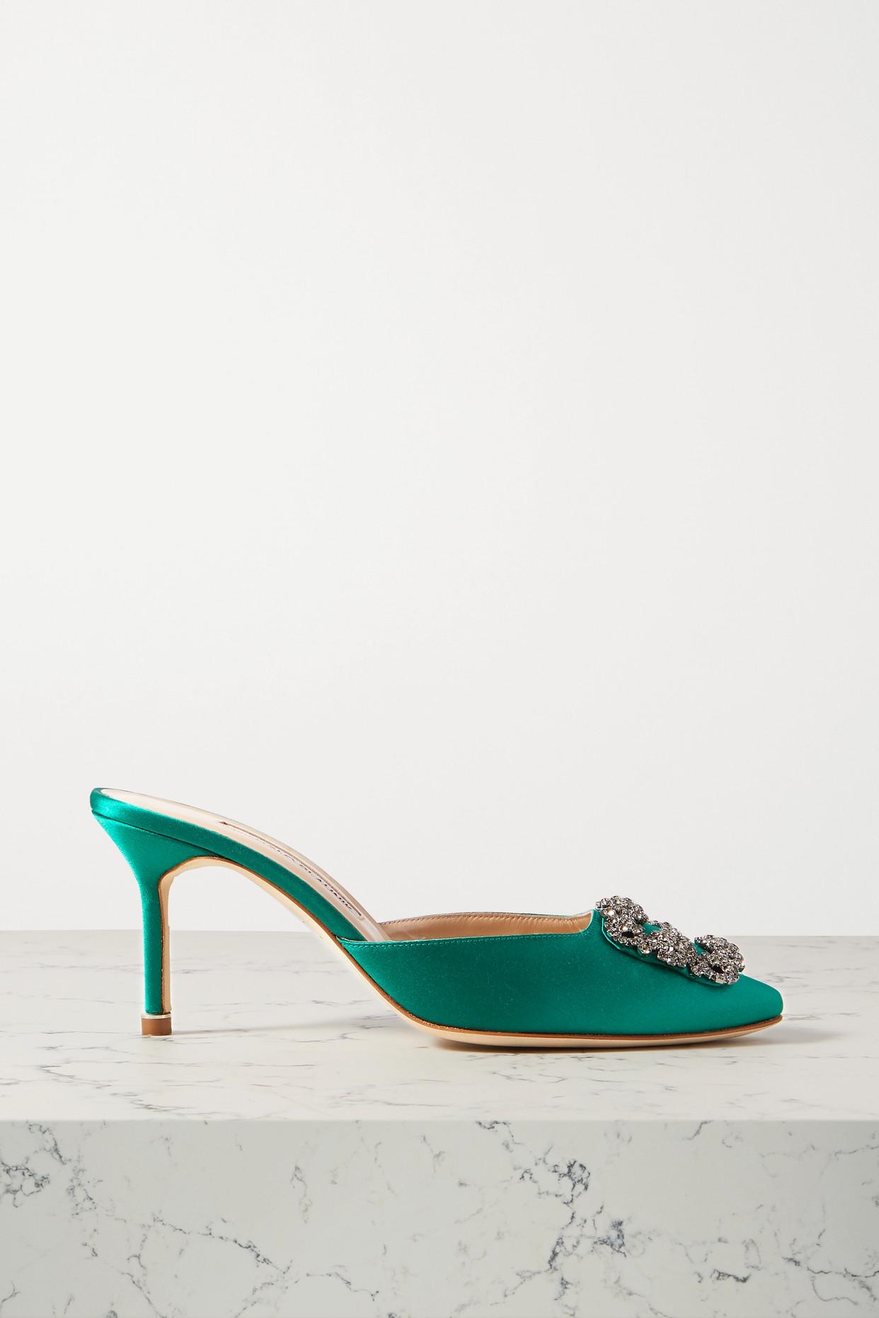 MANOLO BLAHNIK - Hangisimu Embellished Satin Mules - Green - IT37.5