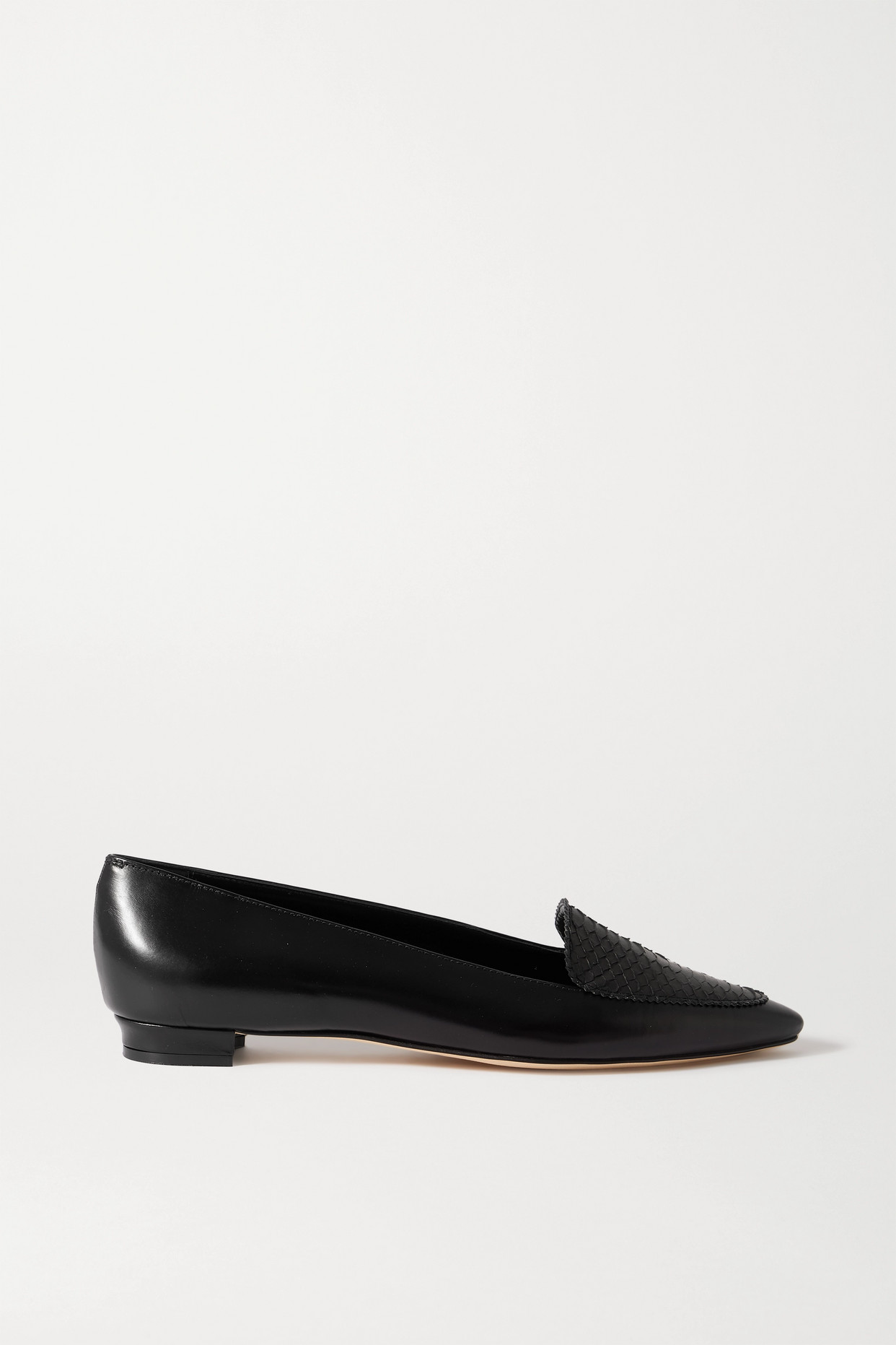 MANOLO BLAHNIK - Agos Leather And Watersnake Loafers - Black - IT35