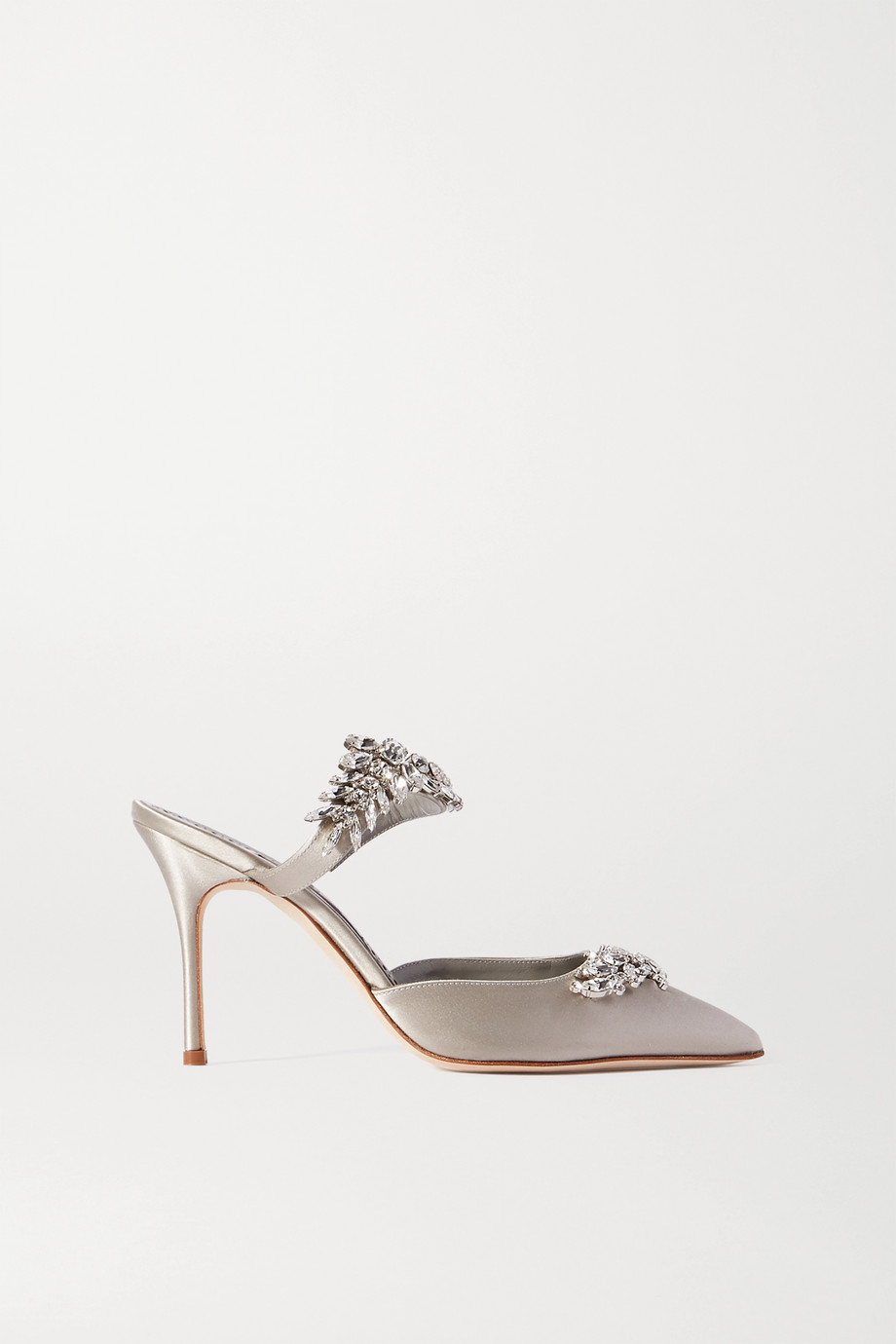 MANOLO BLAHNIK Lurum crystal-embellished satin mules