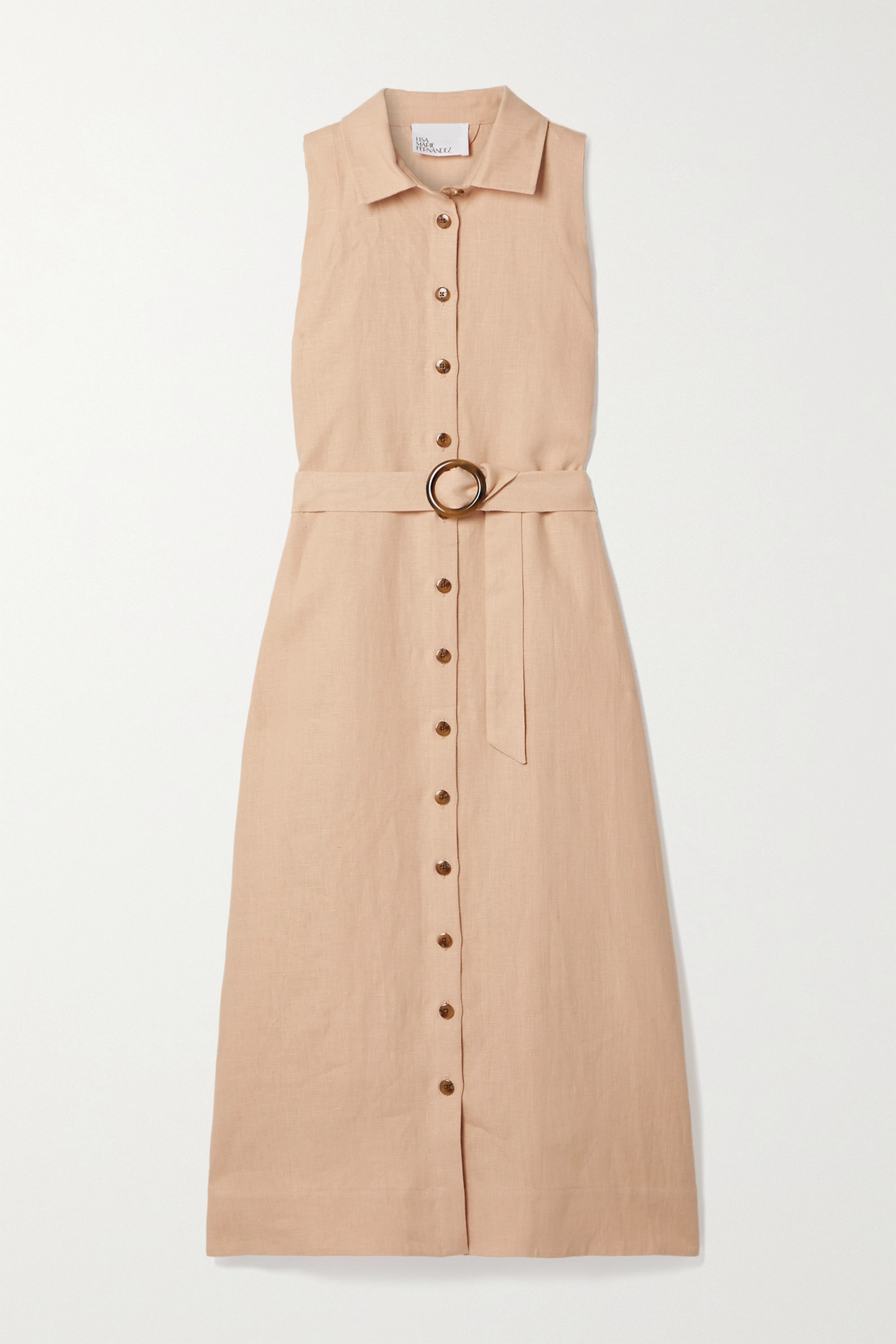 LISA MARIE FERNANDEZ - 【net Sustain】 Alison 亚麻中长连衣裙 - 粉红色 - 2