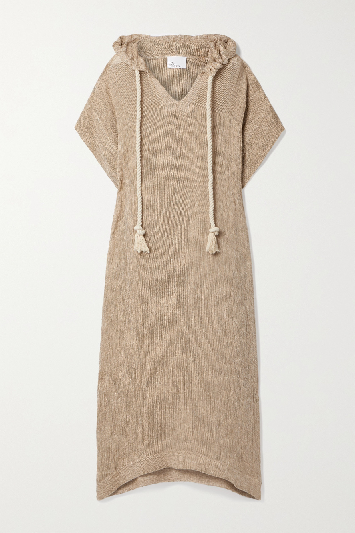 LISA MARIE FERNANDEZ - 【net Sustain】连帽亚麻混纺薄纱长罩衫裙 - 中性色 - 2