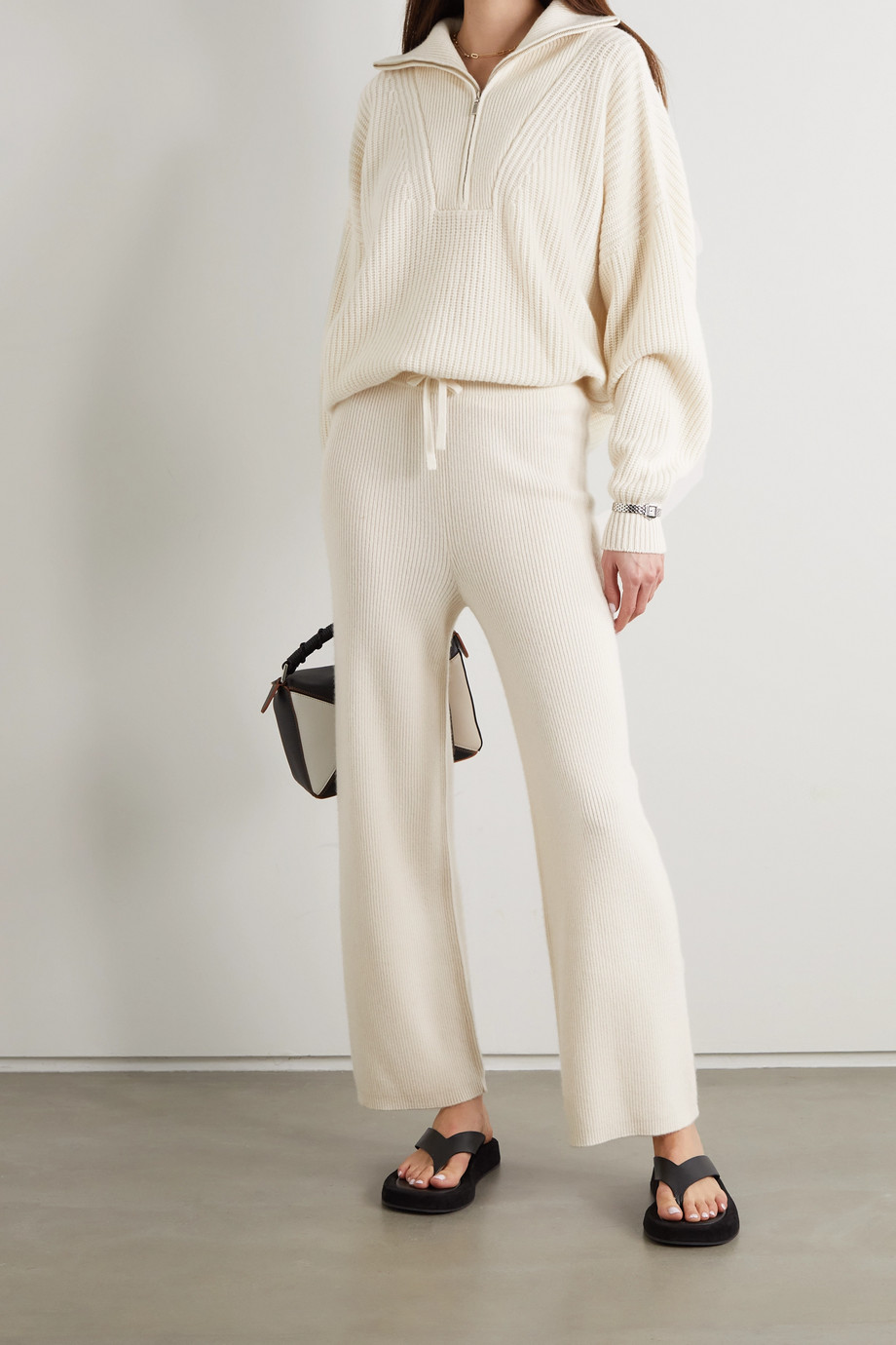 LISA YANG Jimmy ribbed cashmere half-zip sweater