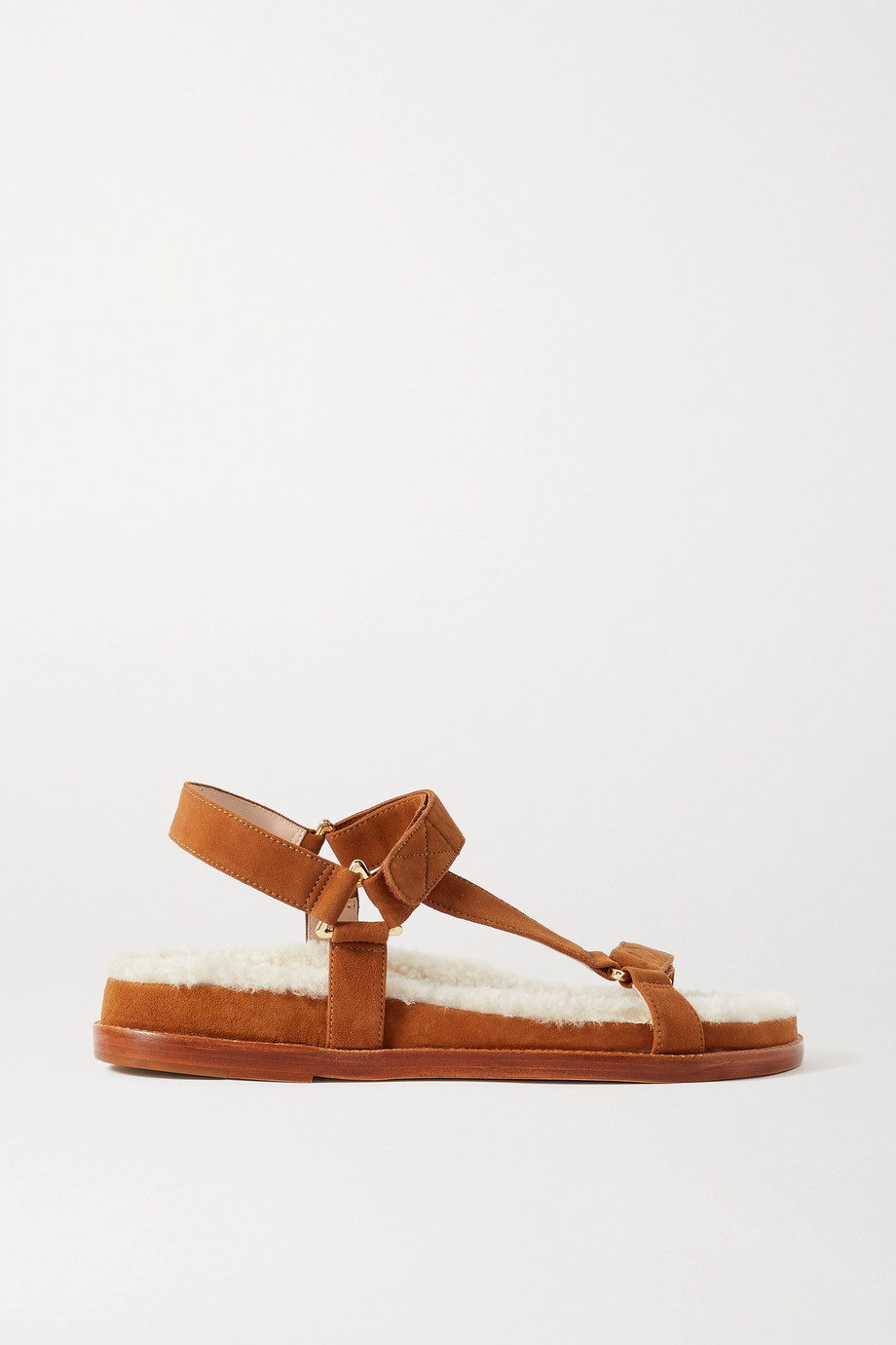 PORTE & PAIRE Shearling-lined suede sandals