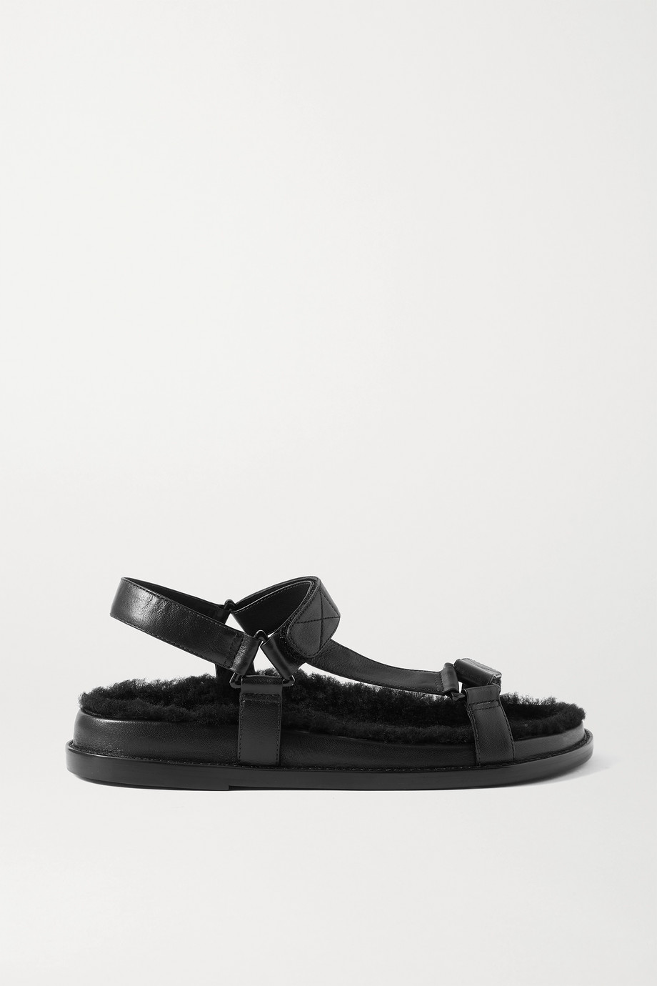 PORTE & PAIRE Shearling-lined leather sandals