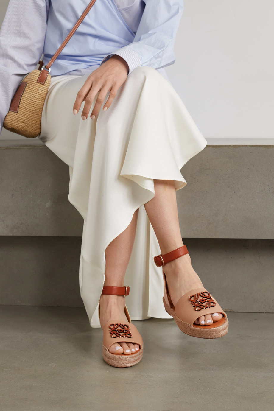 LOEWE + Paula's Ibiza canvas and leather espadrille sandals