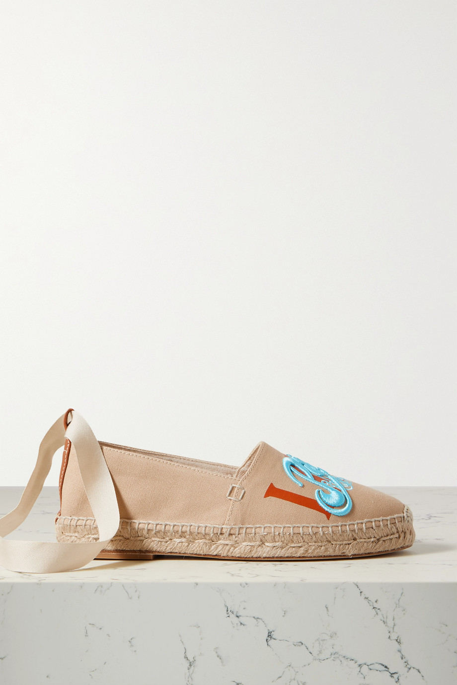 LOEWE + Paula's Ibiza embroidered printed canvas espadrilles