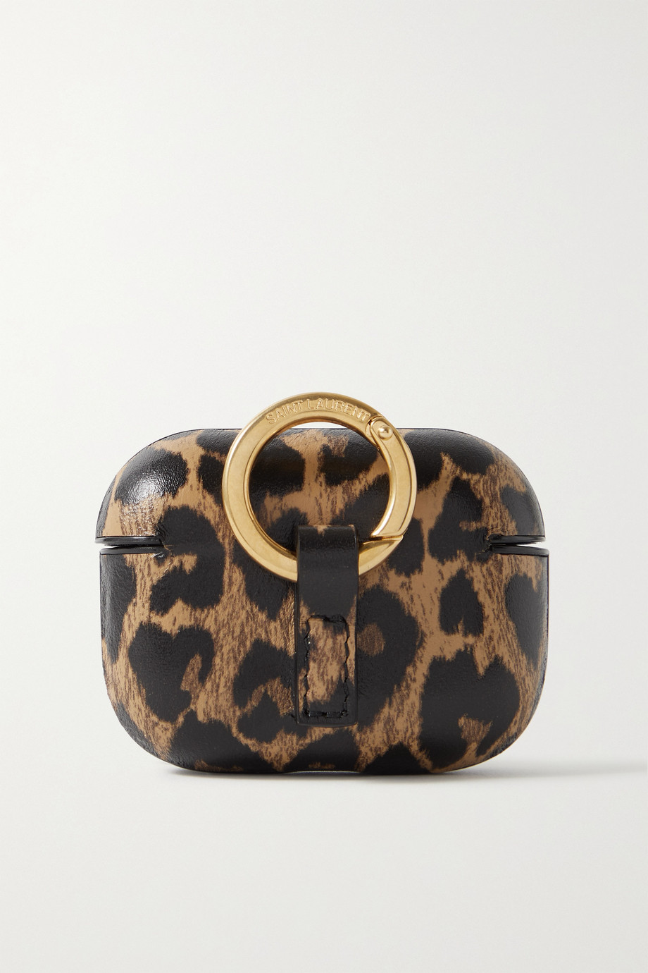 SAINT LAURENT Leopard-print leather AirPods Pro case