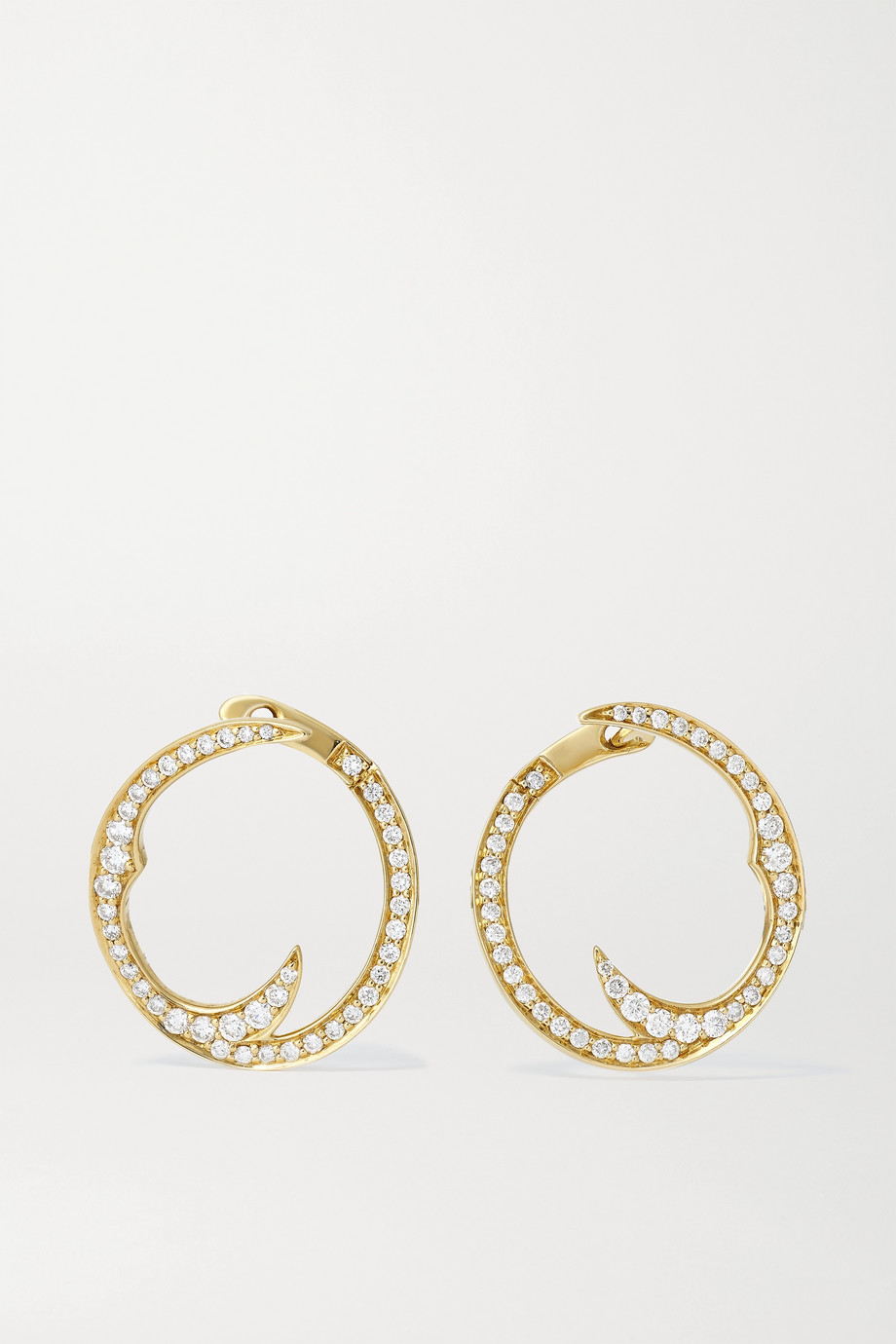 STEPHEN WEBSTER Thorn Stem 18-karat gold diamond hoop earrings