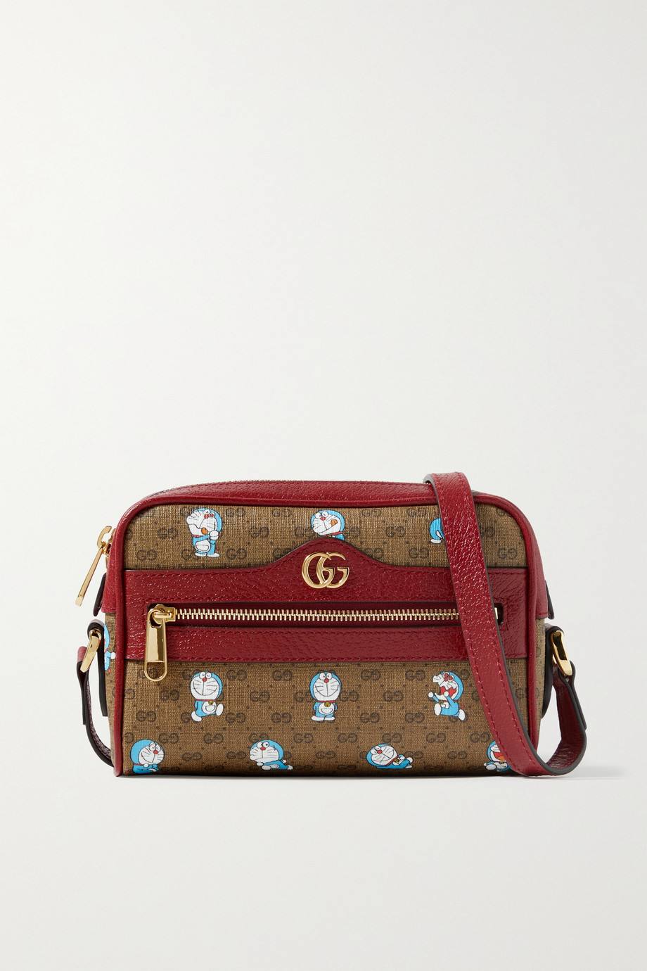 GUCCI + Doraemon small textured leather-trimmed printed coated-canvas shoulder bag