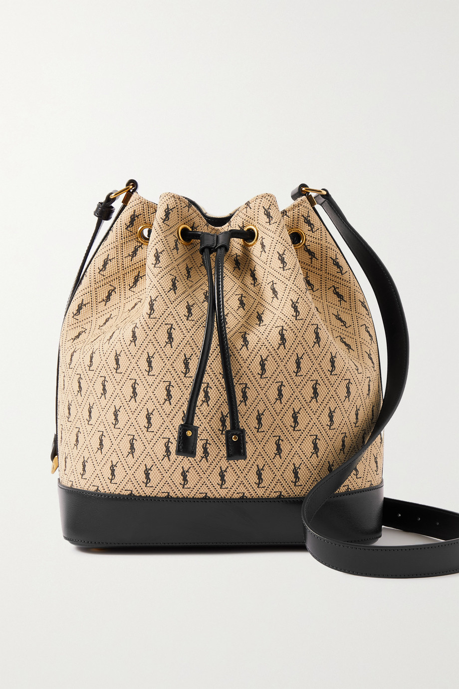 SAINT LAURENT Monogram small leather-trimmed printed canvas bucket bag