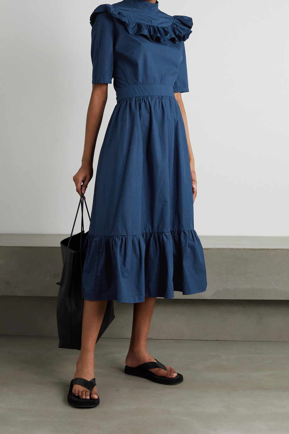 SINDISO KHUMALO + NET SUSTAIN ruffled tiered cotton midi dress