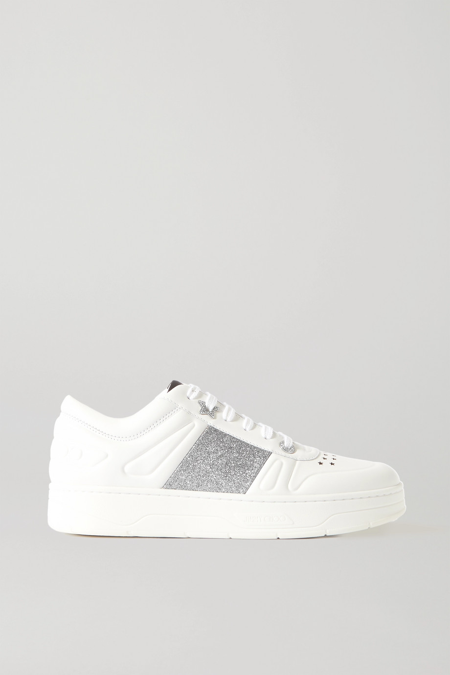 Jimmy Choo Hawaii crystal-embellished glittered perforated leather sneakers