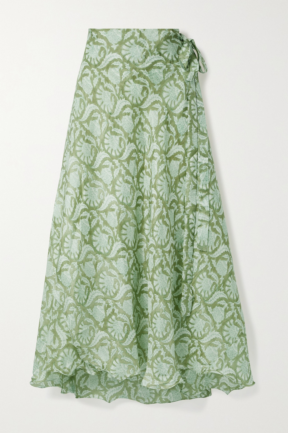 HANNAH ARTWEAR + NET SUSTAIN Maya printed silk wrap maxi skirt