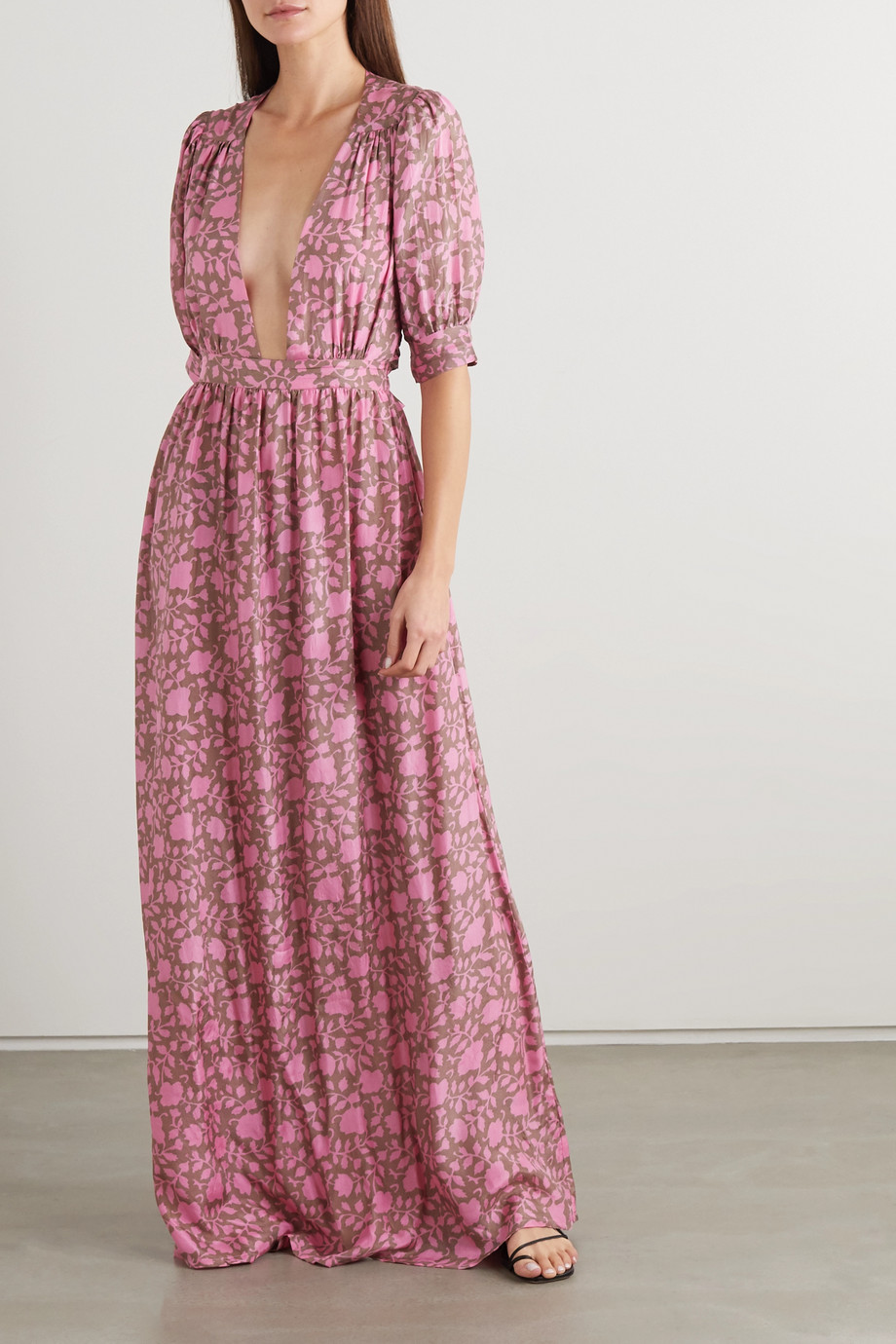 HANNAH ARTWEAR + NET SUSTAIN Surya open-back printed silk maxi dress