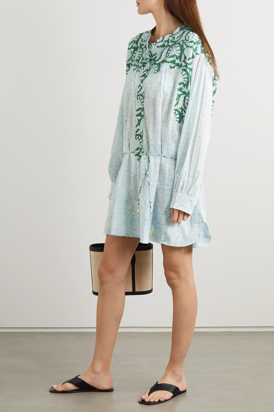 HANNAH ARTWEAR + NET SUSTAIN Goa paneled printed cotton mini shirt dress