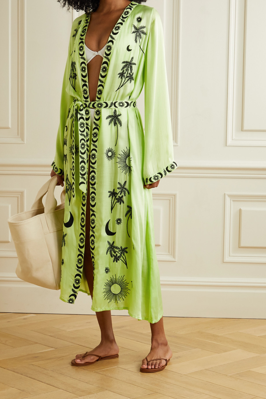 LESLIE AMON Tatiana embroidered modal-satin robe
