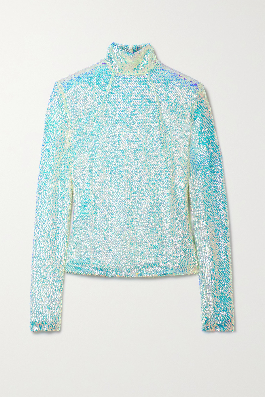 A.W.A.K.E. MODE Sequined tulle turtleneck top