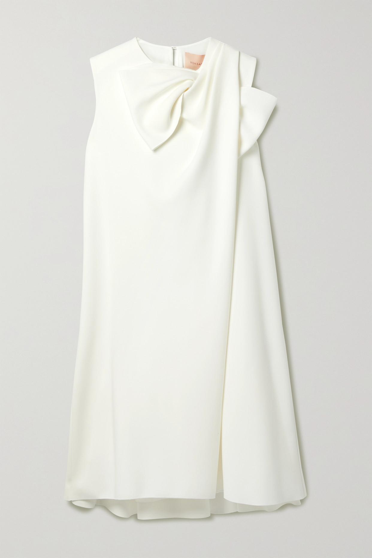 ROKSANDA - Selena Bow-embellished Crepe Mini Dress - Ivory - UK12