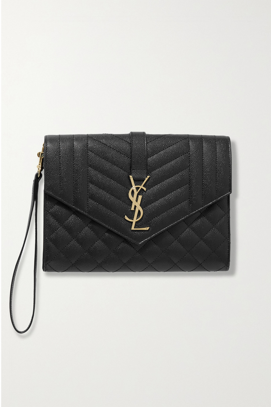 SAINT LAURENT Envelope quilted textured-leather pouch