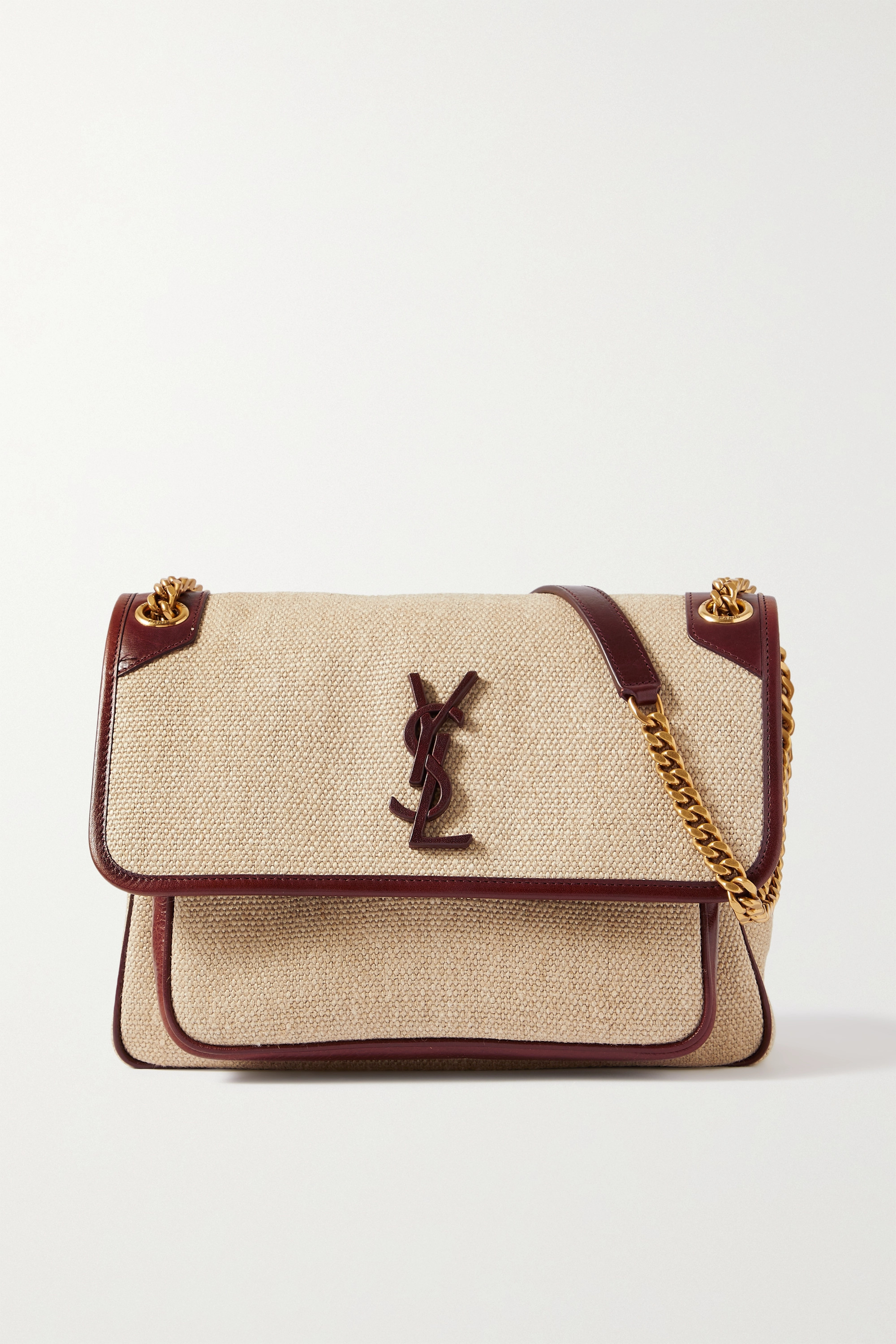 SAINT LAURENT Niki medium leather-trimmed linen-canvas shoulder bag