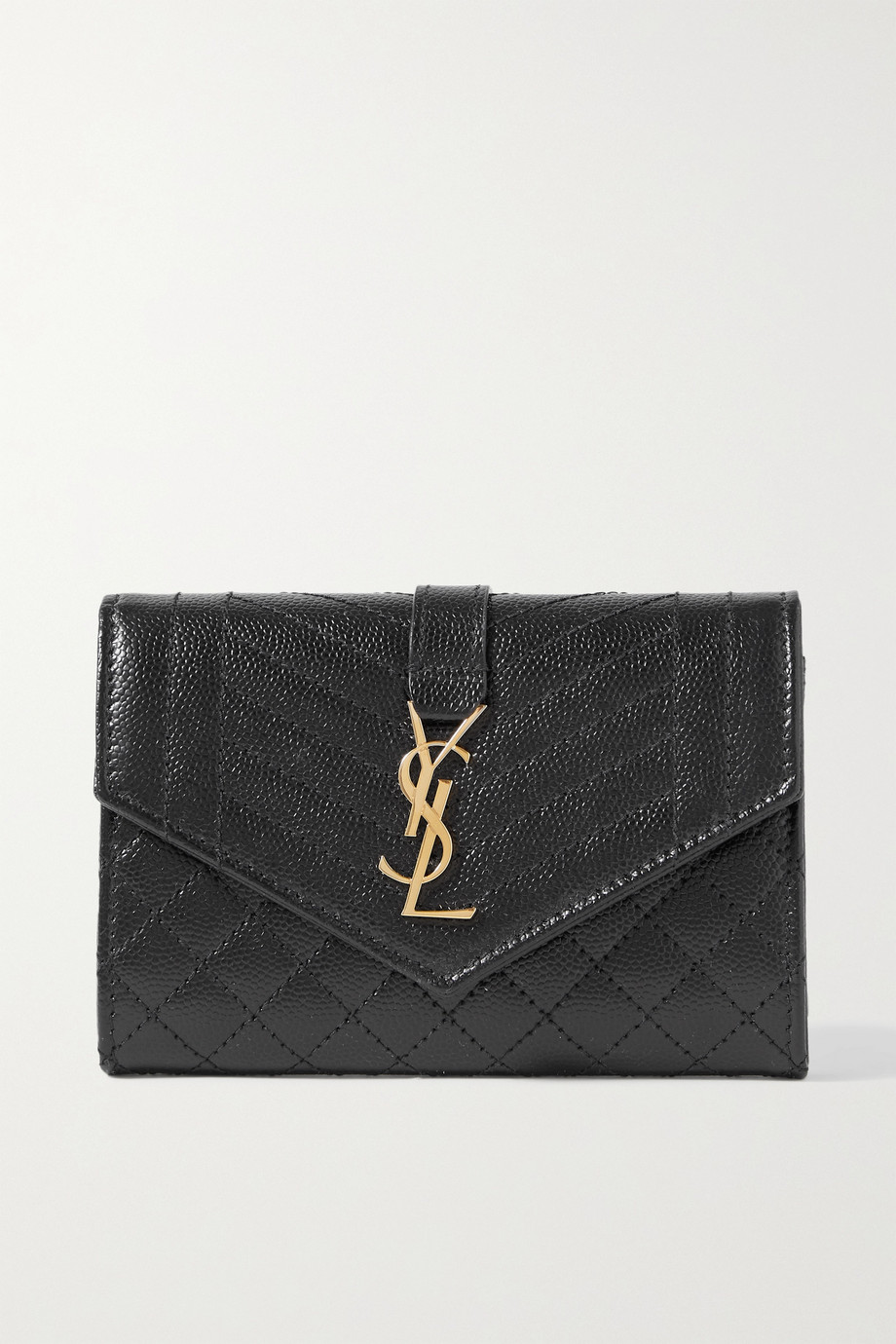 SAINT LAURENT Envelope quilted textured-leather wallet