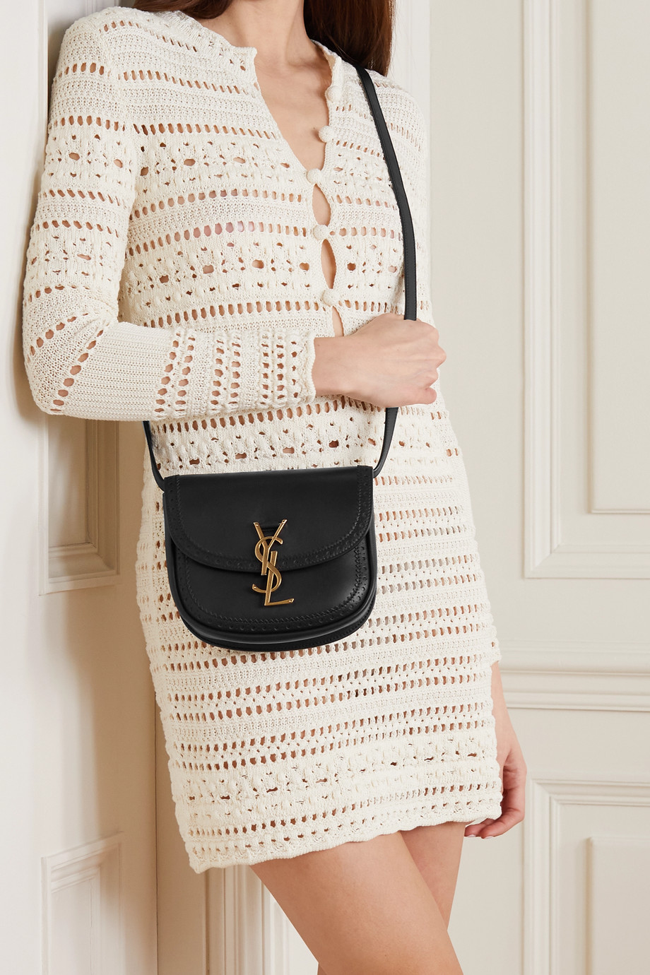 SAINT LAURENT Kaia small perforated leather shoulder bag