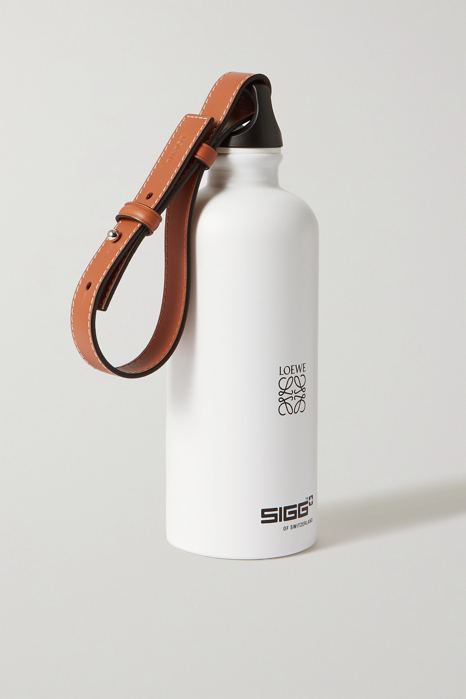 LOEWE + Paula's Ibiza leather-trimmed aluminum bottle