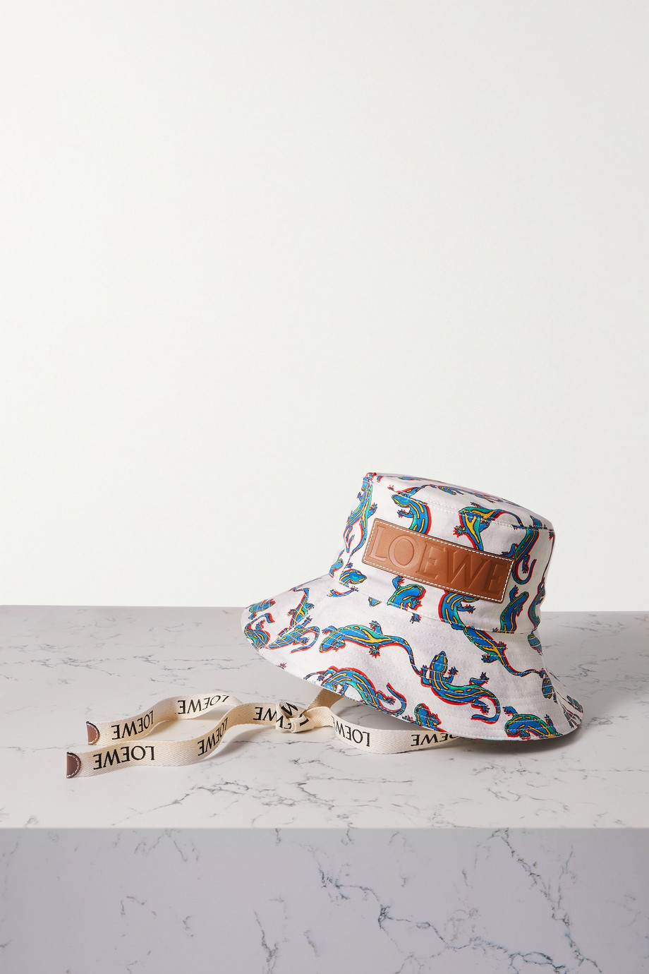 LOEWE + Paula's Ibiza leather-trimmed printed cotton-twill bucket hat