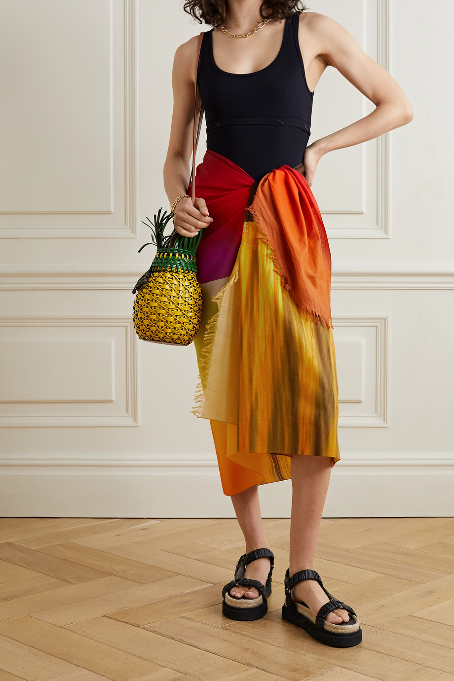 LOEWE + Paula's Ibiza Sunset frayed printed cotton-voile pareo