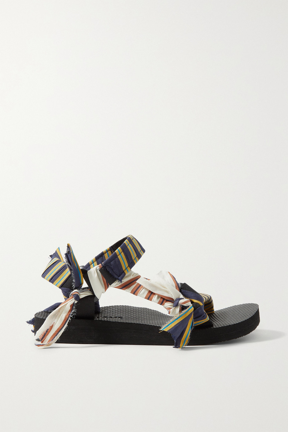 ARIZONA LOVE + Jason Wu Trekky striped gauze-trimmed canvas sandals