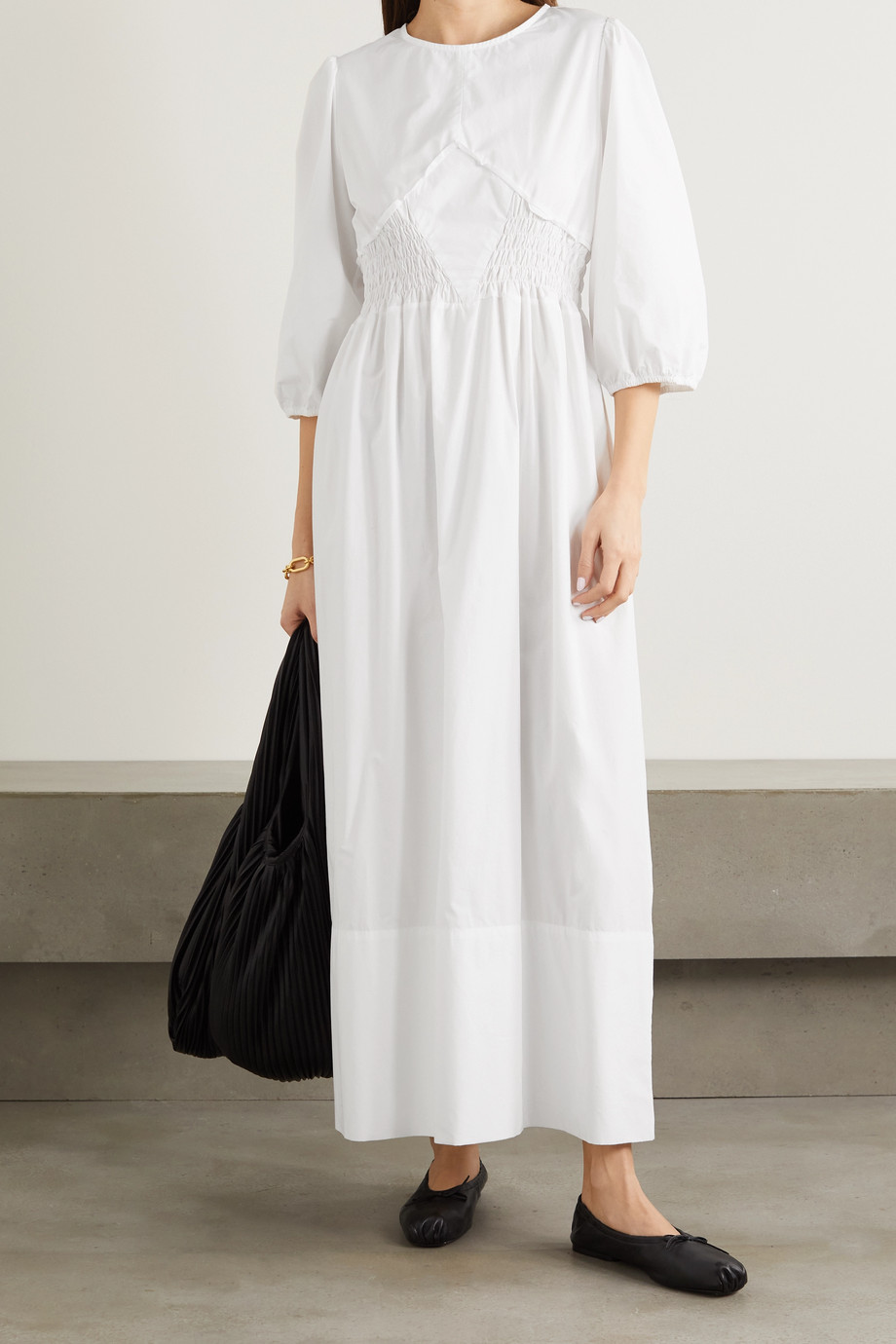 CAES + NET SUSTAIN shirred Lyocell and cotton-blend poplin maxi dress