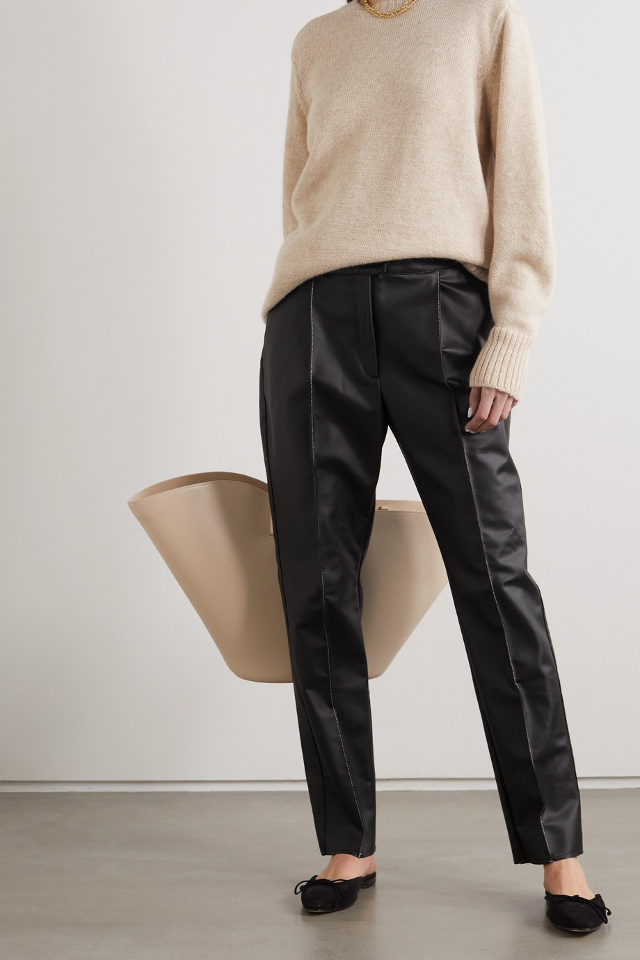 CAES + NET SUSTAIN faux leather straight-leg pants