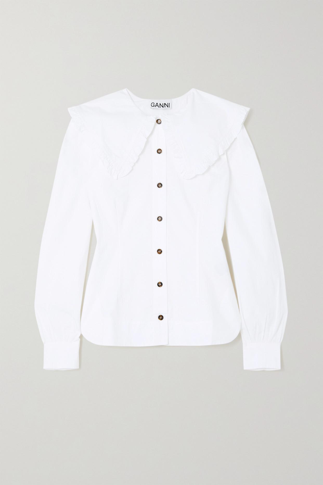 GANNI - + Net Sustain Ruffled Organic Cotton-poplin Blouse - White - DK32