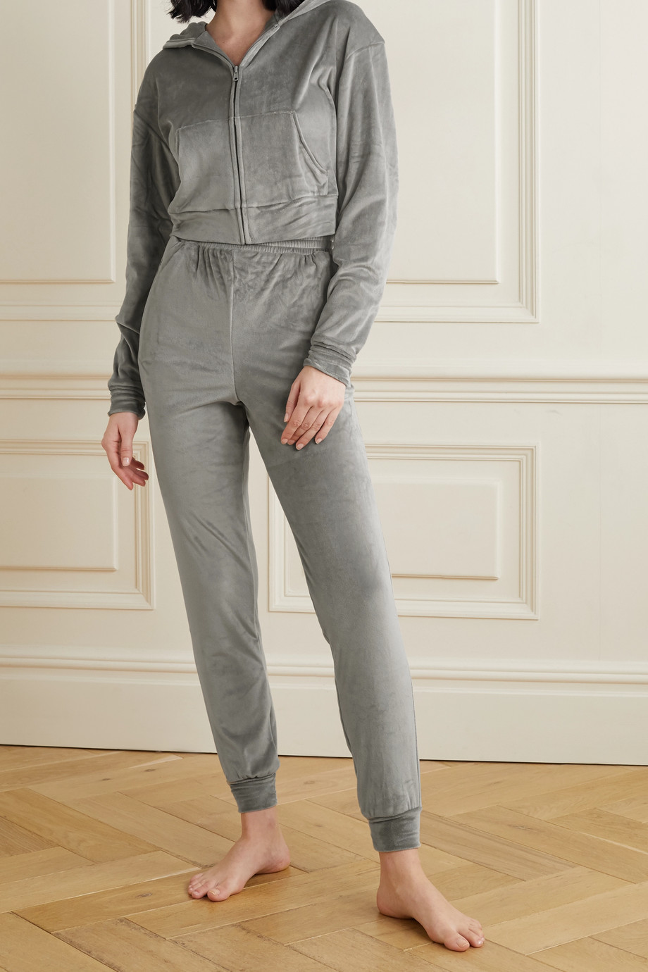 SKIMS Velour track pants - Smoke