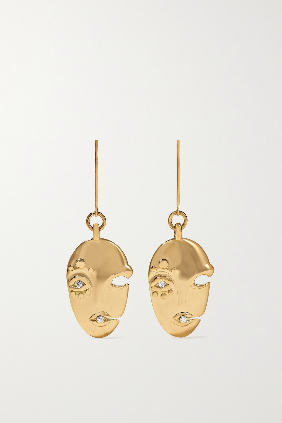 KHIRY FINE Mask 18-karat gold diamond earrings