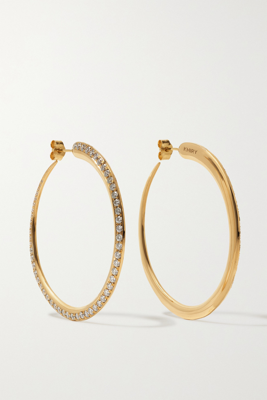 KHIRY FINE Tiniest Khartoum 18-karat gold diamond hoop earrings